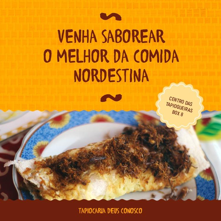 O melhor lanche é na Tapiocaria Deus Conosco! Tapioca com 2 tipos de recheio + Café com leite, Achocolatado (quente ou frio) ou Cappuccino por R$14,99