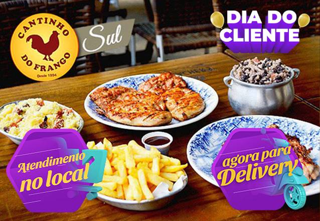 Os pratos irresistíveis do Cantinho do Frango Sul! Premiado pelo Sabores da Cidade e pela Veja Comer e Beber de 2018! Entrada + Prato Principal + Acompanhamentos para até 4 pessoas de R$108,30 por apenas R$84,50. Válido para Delivery! #Diadocliente