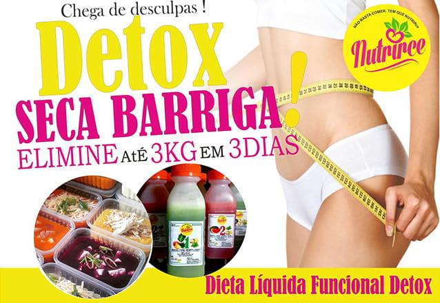 Detox para secar a barriga e perder até 3kg em 3 dias! Kit Detox Líquido da Nutrice para 3 dias de R$150 por apenas R$110
